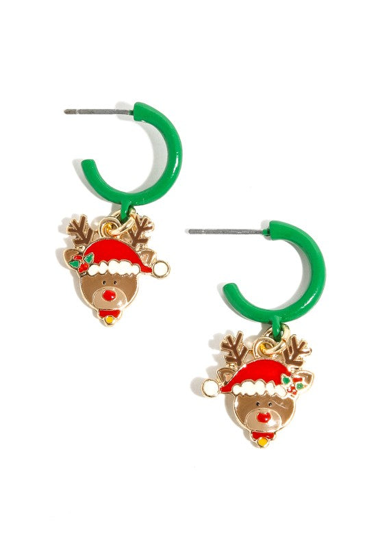 Reindeer Charm Hoop Earrings