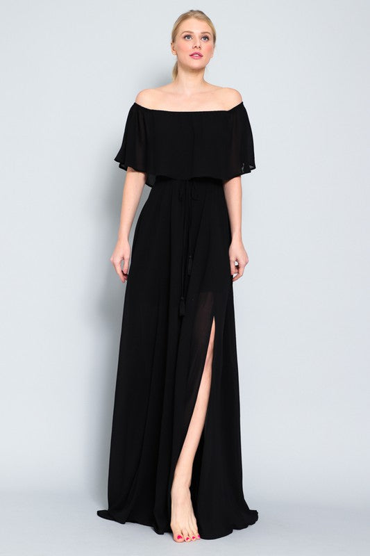 Off Shoulder Ruffled Top Maxi Dress