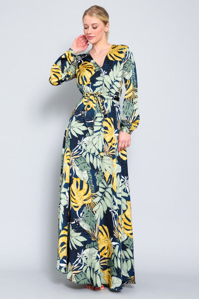 Palm Paradise Belted Maxi Dress