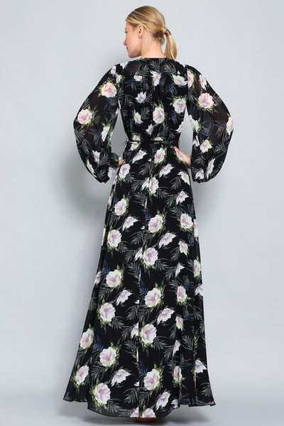 LONG SLEEVE SURPLICE MAXI DRESS