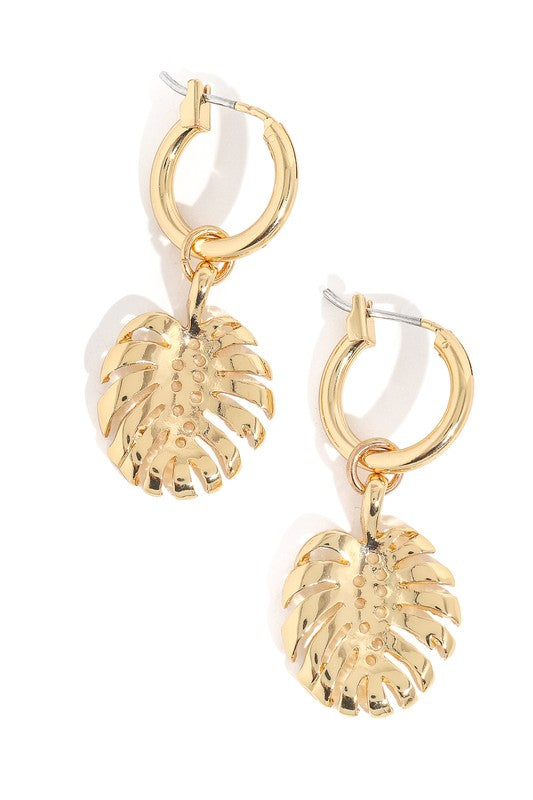 Polished Monstera Leaf Charm Earring