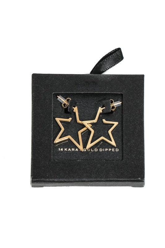 Gold Dipped Star Frame Hoop Earrings