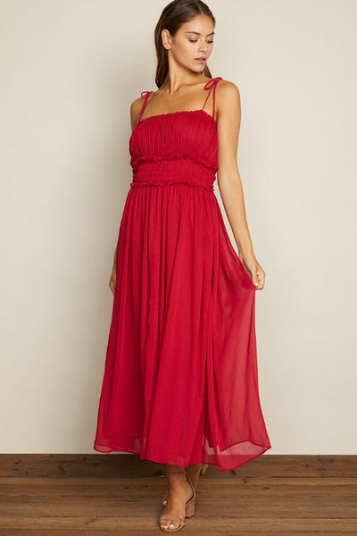 CHIFFON MIDI DRESS IN BERRY RED