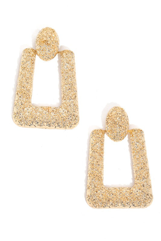 Geo Rough Metallic Drop Earrings