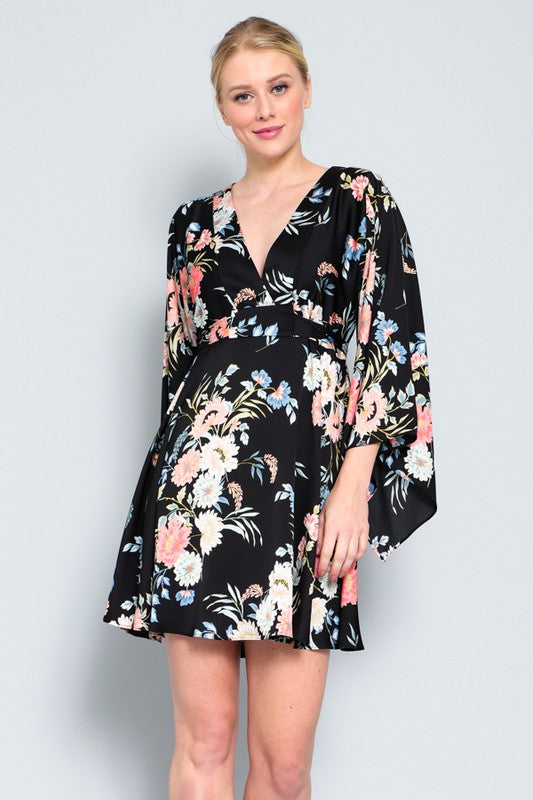 Kimono Sleeve Tie Mini Dress
