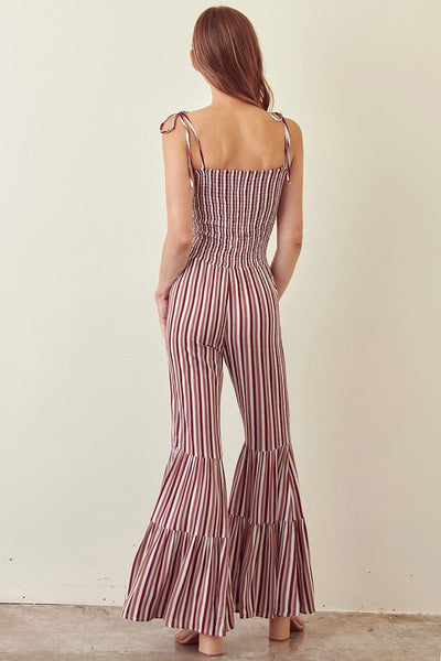 Striped Jumpsuit with Tie Straps