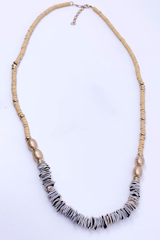 Wood and Shell Beaded Necklace