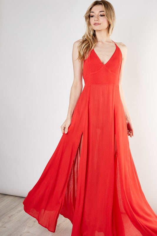 CROSS-BACK MAXI DRESS