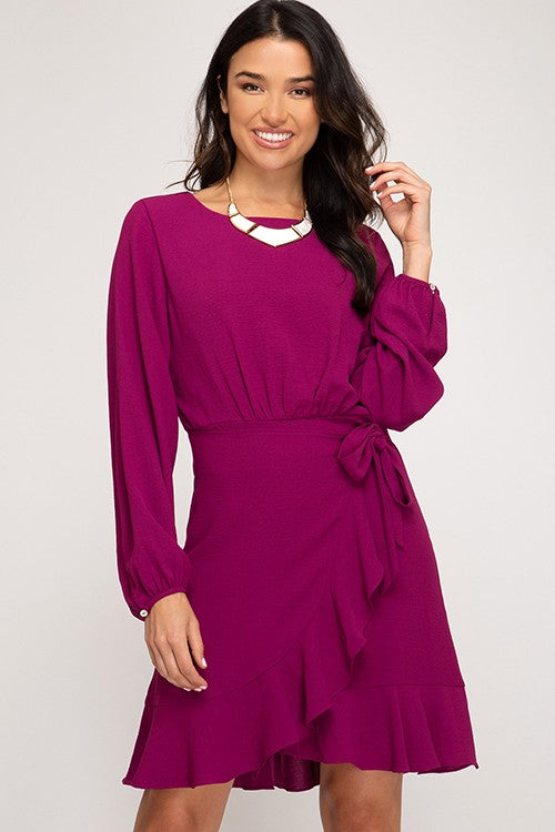 RUFFLE DETAIL WAIST TIE WRAP DRESS