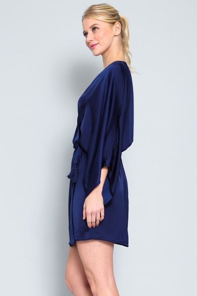 Elegant Kimono Sleeve Wrap Mini Dress