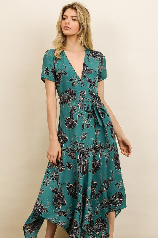 Floral Handkerchief Hem Midi Dress