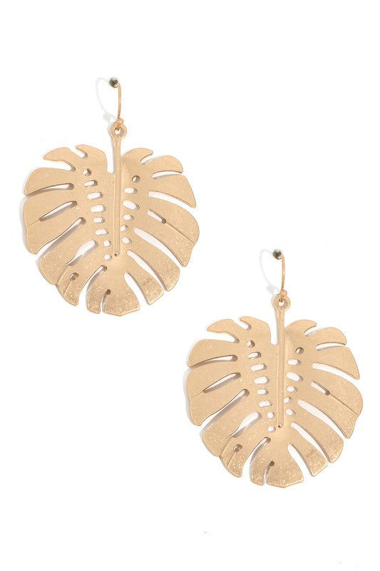 Monstera Leaf Patterned Earrings