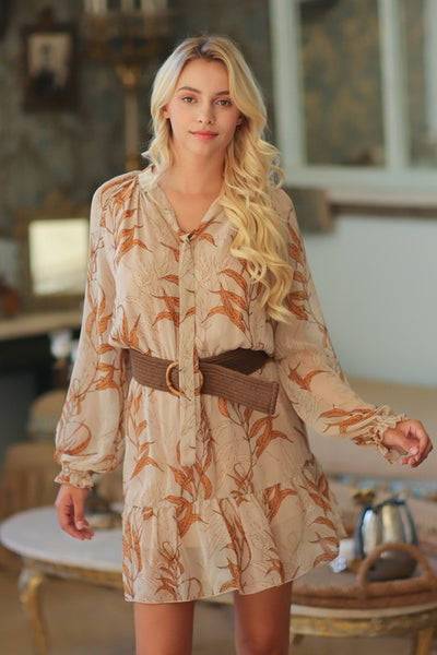 Long Sleeve Elastic Waist Mini Dress
