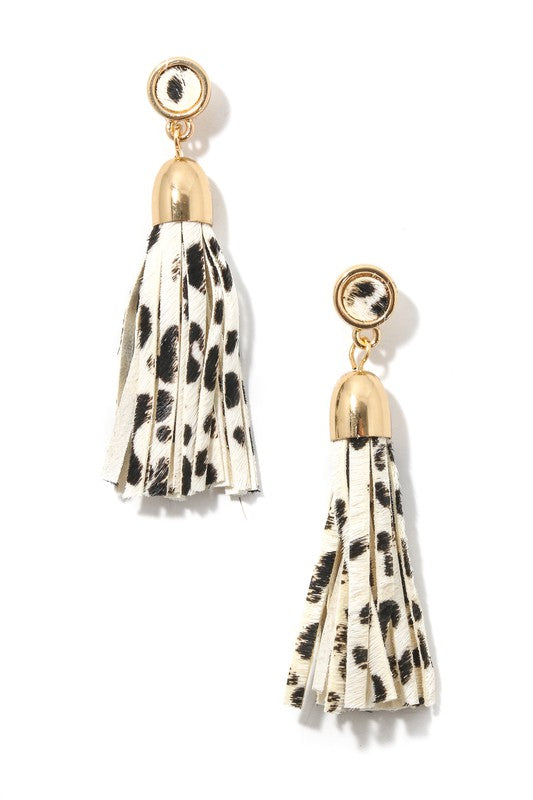 Animal Print Tassel Drop Earrings
