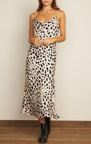 Leopard Cowl Neck Midi Dress
