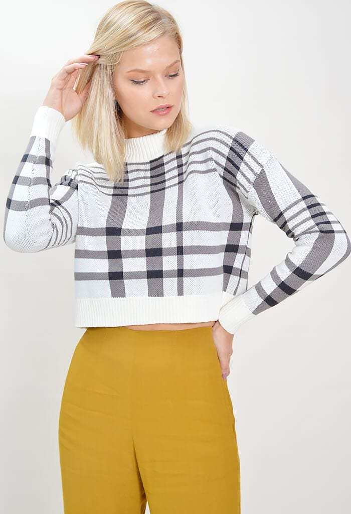 minkpink crop sweater anna