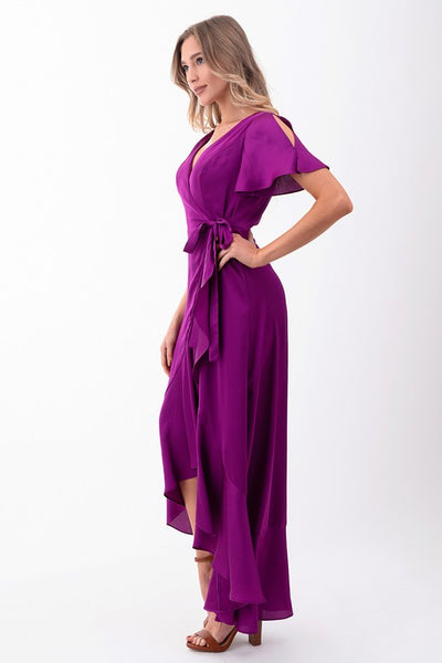 Ruffle Wrap Magenta Maxi Dress