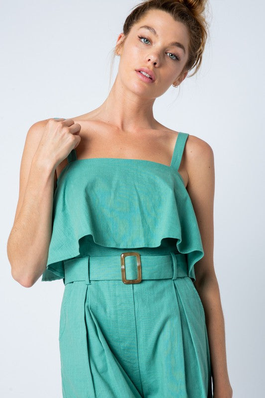 RUFFLE TOP BUCKLE WITH SELF BELT ROMPER