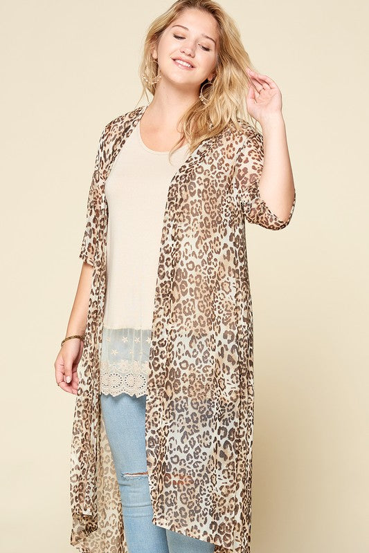 Animal Printed Mesh Long Body Cardigan