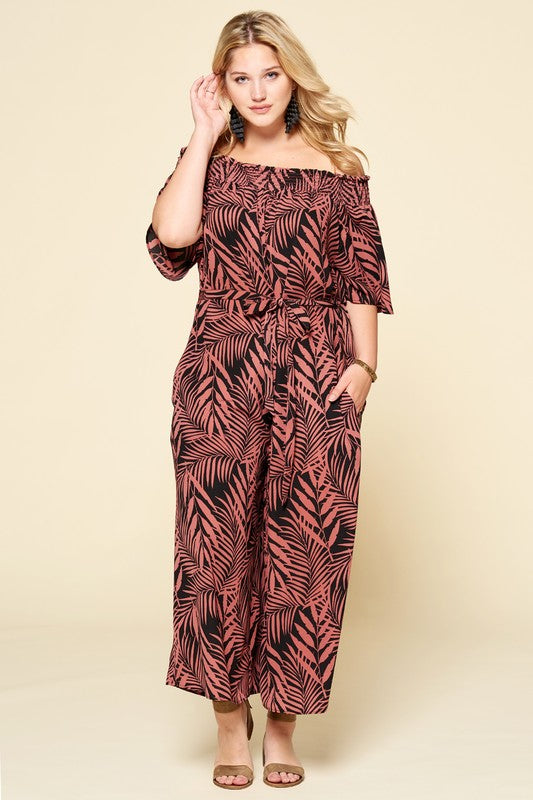 Plus Size Tropical Palm Leaf Printed Jumpsuit