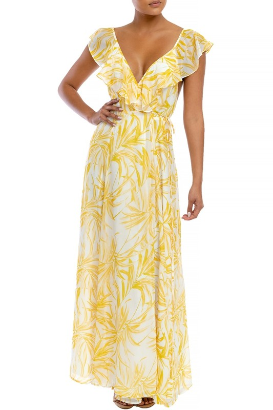chiffon leaves wrap maxi dress