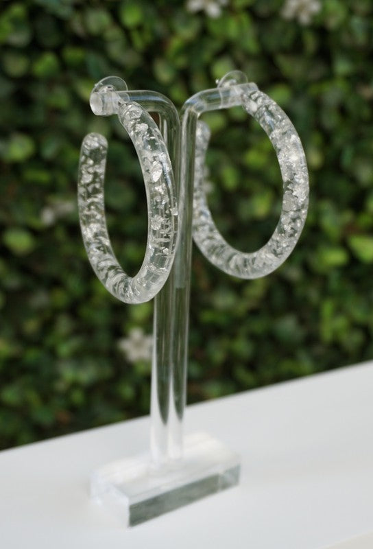LUCITE FLAKE HOOP EARRINGS