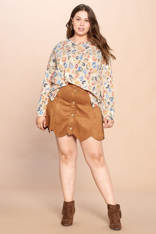 Plus Size Scalloped Hem Suede Mini Skirt