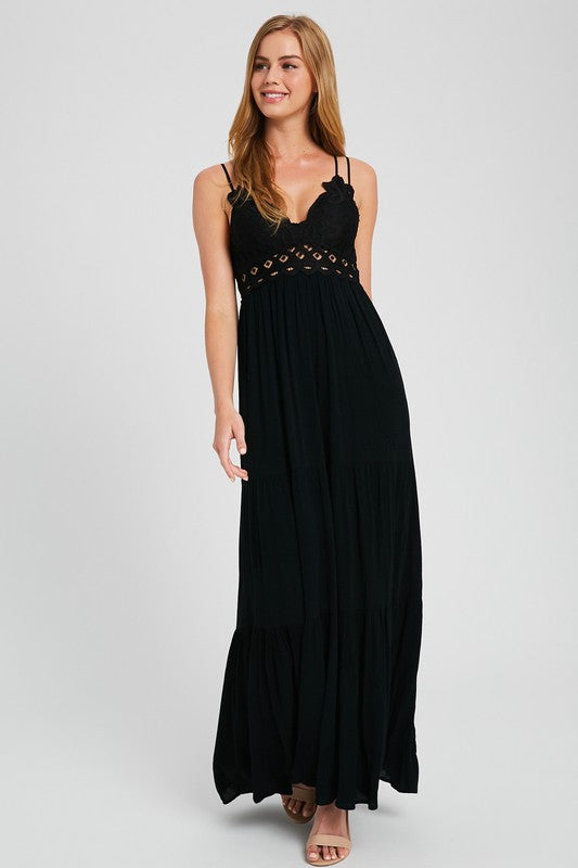 EXCLUSIVE SCALLOPED LACE BRALETTE MAXI DRESS