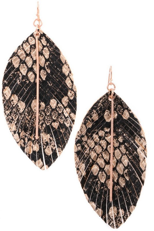 Faux Leather Feather with Metal Bar Earrings