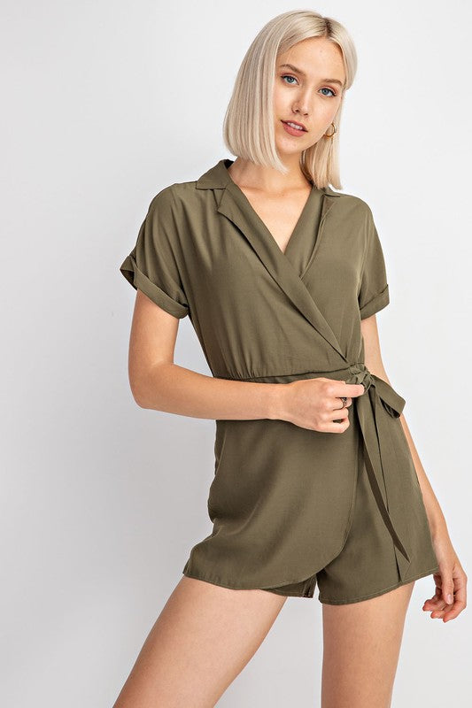 Short Sleeve Wrap Romper