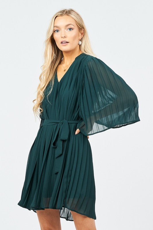 Pleated Mini Dress