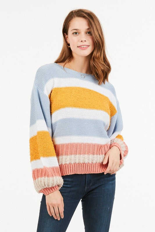 Colorblock Sweater with Puff Sleeve