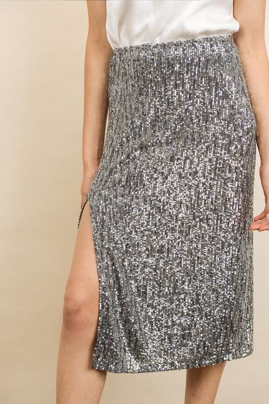 SEQUIN MIDI SLIP SKIRT