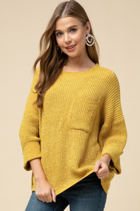 Chenille Sweater with Front Pocket