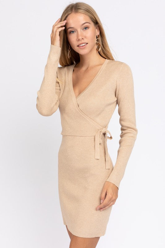 Faux Wrap Bodycon Knit Dress