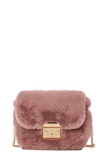 Metallic Lock Faux Fur Clutch Bag