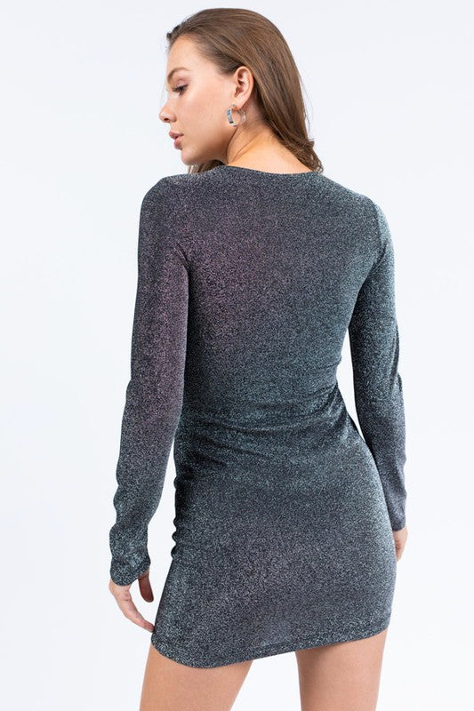 Glittery Cut Out Detail Lurex Dress