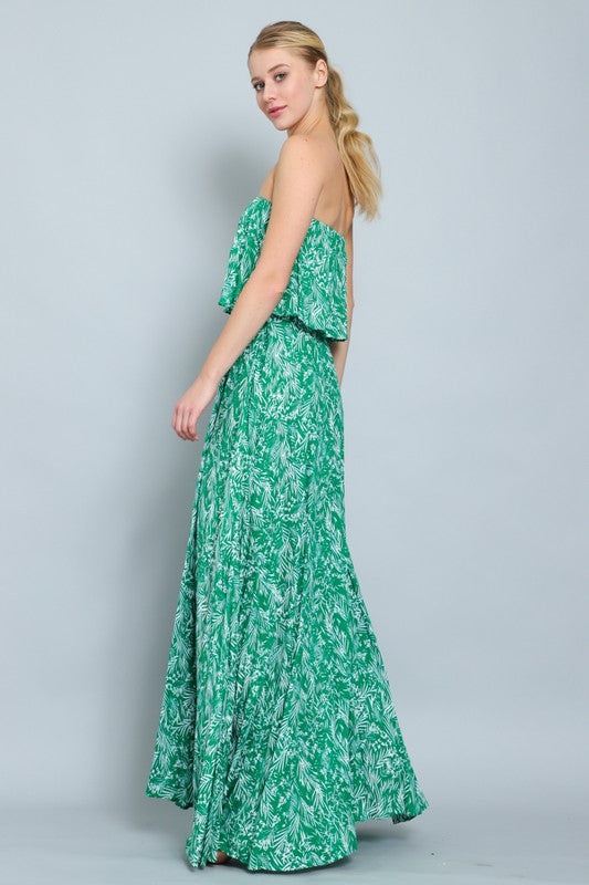Strapless Palm Print Maxi Dress