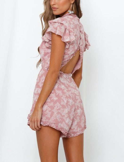 Pink and White Open Back Romper