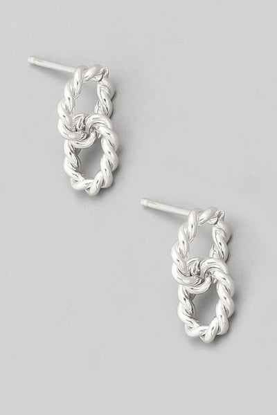 Mini Textured Circle Link Earrings