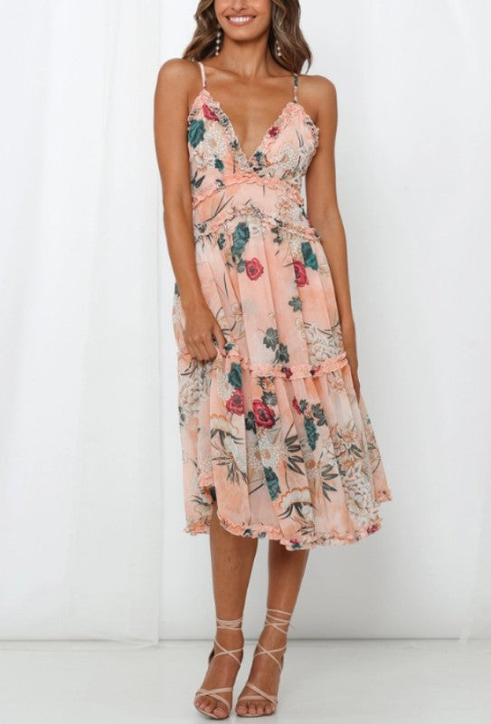 Floral Printed Ruffle Midi Dress
