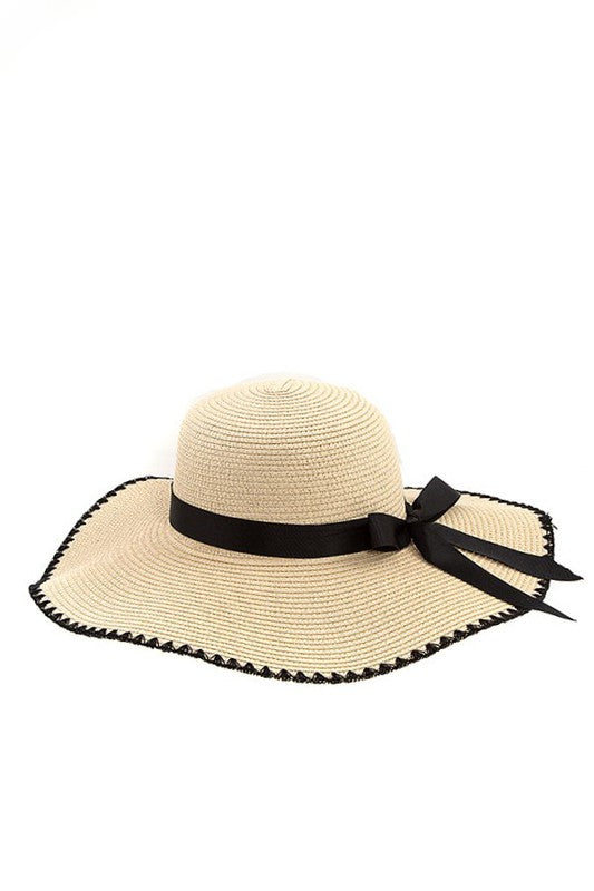 Bow Accent Straw Hat