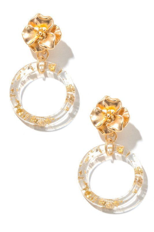 Flower Stud & Hoop Drop Earrings