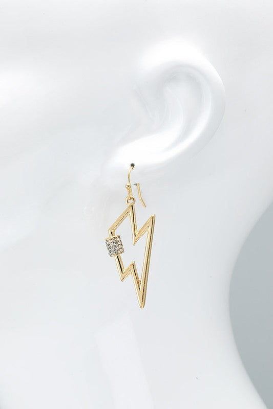 Lightning & Screw Lock with Pave Crystal Earrings