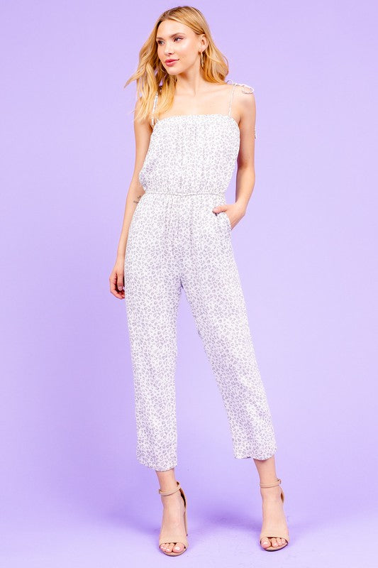 Leopard Shoulder Tie Jumpsuit
