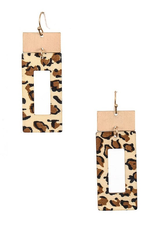 Leopard Rectangle Earrings