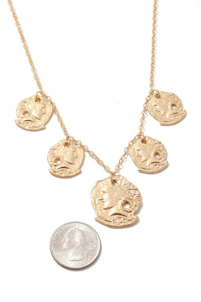 Stamped Coin Charms Chain Necklace