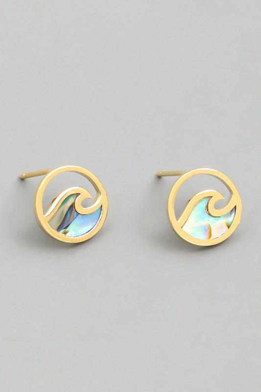Circle Wave Stud Earrings