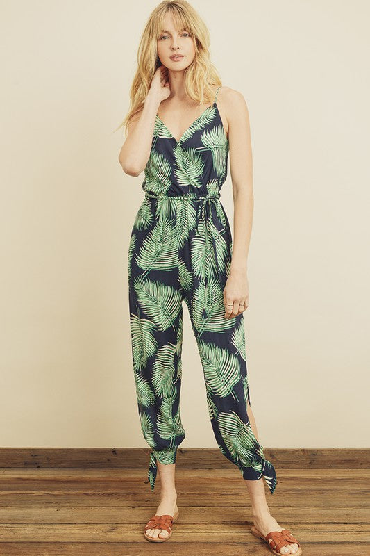 Tropical Print Side Slit Jumpsuit