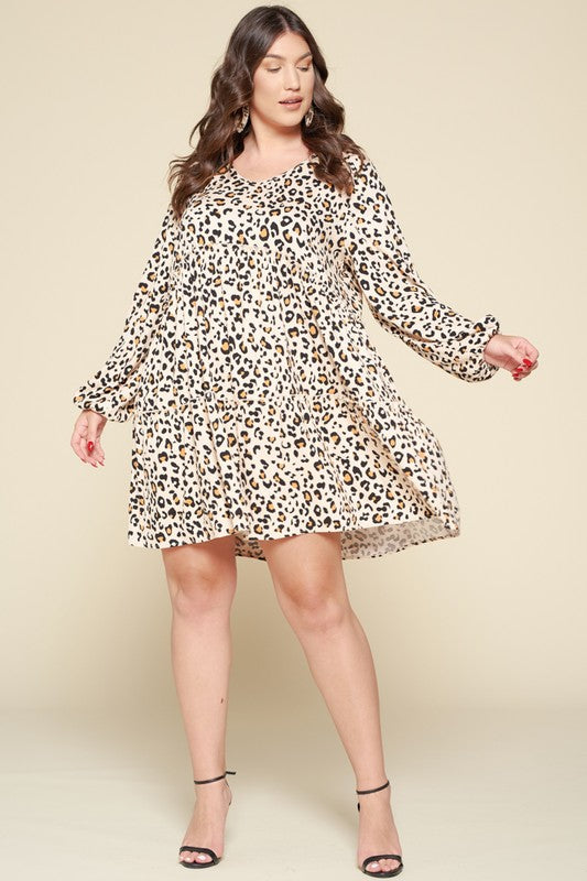 Leopard Printed Knit Babydoll Dress